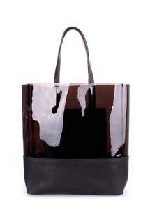 Прозрачная кожаная сумка City Carrie black