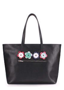 Женская кожзам сумка flora black