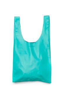 Женская сумка майка из натуральной кожи, бирюзовая