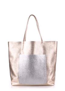 Женская кожаная сумка MANIA gold-silver