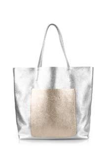 Женская кожаная сумка MANIA silver-gold