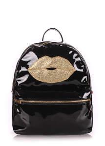 Рюкзак Mini Lips black laque