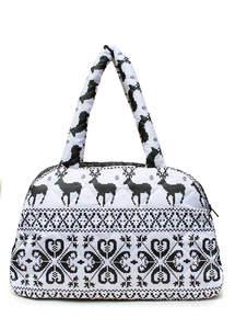 Стеганая женская сумка с оленями саквояж ns2 White