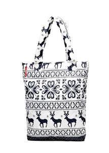 Стеганая женская сумка с оленями ns1 Oleni White