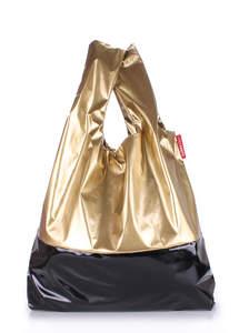 Женская сумка пакет черный и золотистый Pool 14 Gold