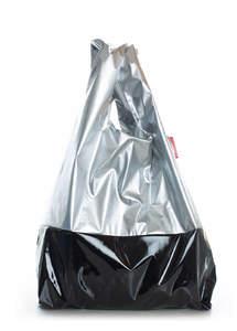 Женская сумка пакет черный и серебристый  Pool 14 Silver