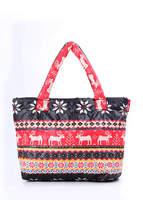 Женская стеганая сумка с оленями Pool 69 black-red