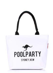 Летняя тканевая сумка с двойной ручкой белый pool9