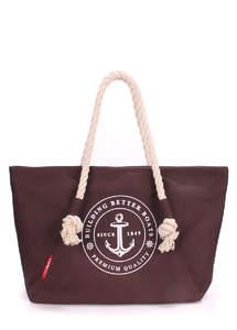 Летняя пляжная тканевая сумка Pool breeze brown