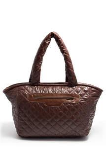 Стеганая дутая сумка pool cocoon brown
