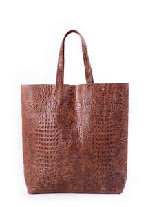 Женская кожаная сумка CROCODILE city brown