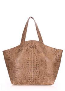 Женская кожаная сумка Fiore CROCODILE beige