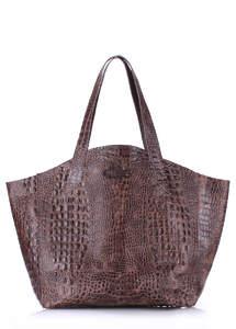 Женская кожаная сумка Fiore CROCODILE brown