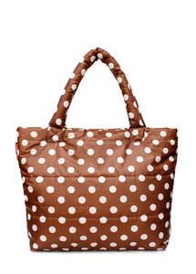 Стеганая дутая сумка pp4 Сappuccino Dots