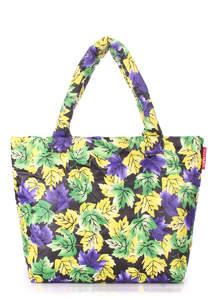 Стеганая дутая сумка Pp4 yellow-violet Leaves