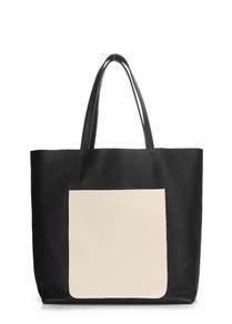 Женская кожаная сумка MANIA black-beige