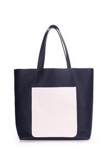 Женская кожаная сумка MANIA darkblue-white