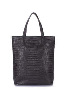 Женская сумка из кожзама tulip-croco-black