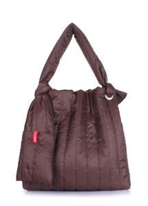 Дутая сумка на плече zefir-brown